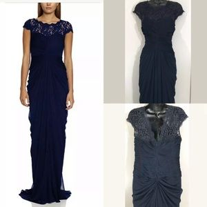 Adrianna Papell navy formal lace cap sleeve dress